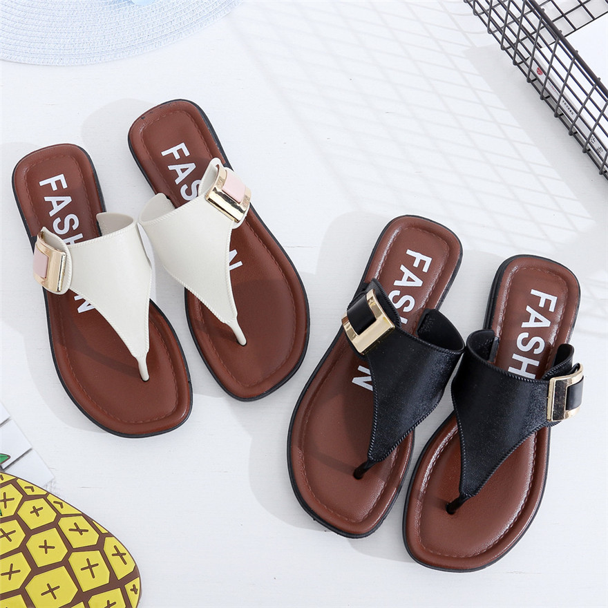 Casual Beach Women Slipper Sandals Summer Home Flat Flip Flops Shoes slippers for women zapatos de mujer sapato masculino T# new women sandals sapato feminino handmade genuine leather flat shoes wedge flip flops beach women slipper shoes sandalias mujer