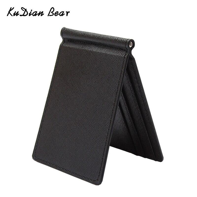 KUDIAN BEAR Slim Men Money Clip Wallet Mental Solid Male Purses Designer I Clip Cash Holder Card Cases -- BID213 PM49