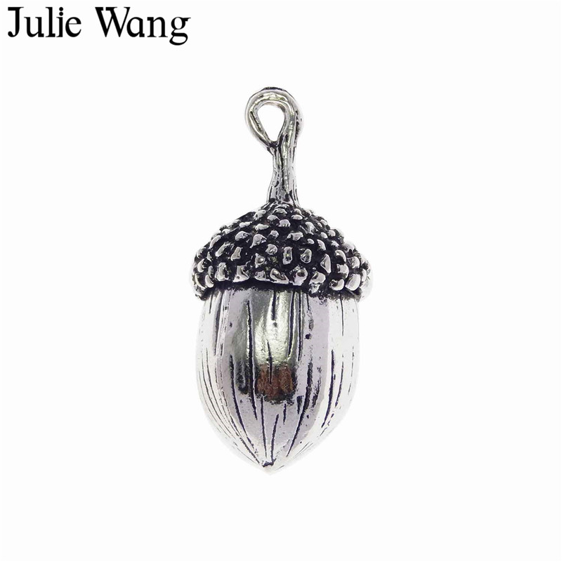 Julie Wang 100PCS Alloy Antique Silver Big Acorn Charms Suspension For Neckalce Pendant Findings DIY Jewelry