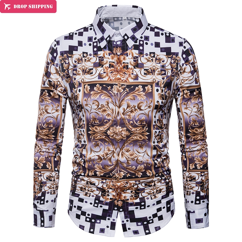 Stylish Men 39 s Luxury Gold Floral Print Dress Shirt 2018 Brand New Casual Slim Fit Long Sleeve Shirt Men Camisa Social Masculina in Casual Shirts from Men 39 s Clothing