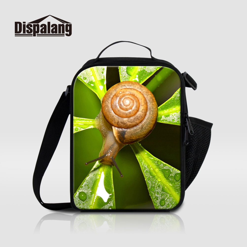 Dispalang Small Thermal Lunch Bags For Kids Food Picnic Bag Lancheira Snail Animal Print Sac Isotherme Lunch Box For School Meal