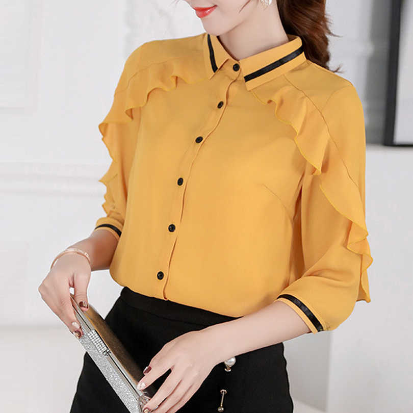 Brand 2019 Spring Summer Blouses New Korean Women Blouse Yellow Joker Slim Chiffon Shirt Blusas Office Work Top Casual Shirts