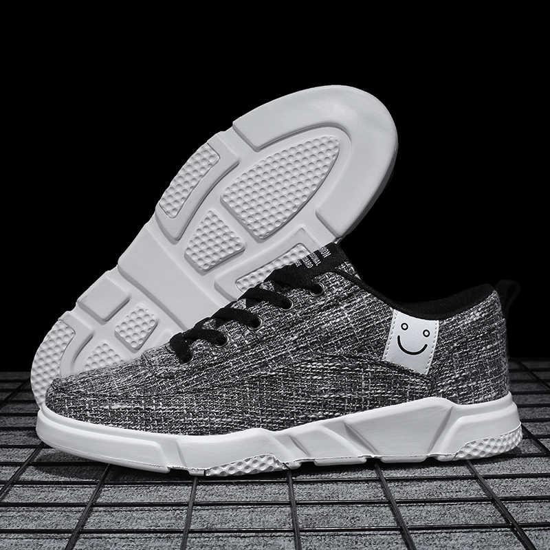Otoño zapatos de skateboard para Hombre Zapatos casuales de lino suaves cómodos al aire libre zapatos deportivos transpirables zapatillas para caminar