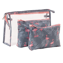 3Pcs/lot Flamingo Toiletries Storage Bag Travel Makeup Portable Cosmetic Organizer Dustproof Transparent Pouch