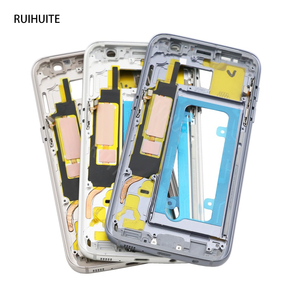 RUIHUITE Middle Frame For Samsung Galaxy S7 G930 G930F & S7 Edge G935 G935F Mid Bezel Metal Frame Housing Chassis image