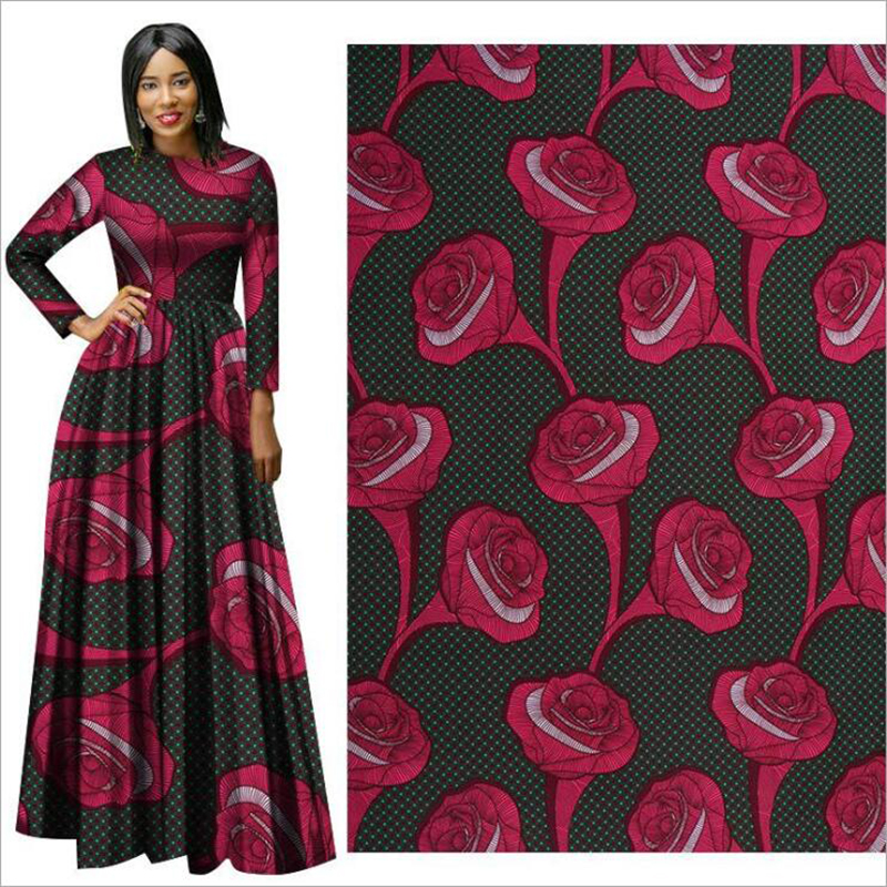 Me-dusa 2019 rose flower African Print Wax Fabric 100% Polyester Hollandais Wax DIY Dress Suit cloth 6yards/lot high quality(China)