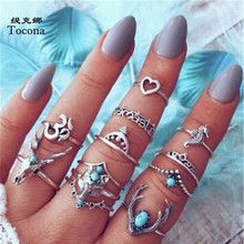 Tocona Bohemia Vintage Silver Color Rings Sets For Women Men Hollow Heart Love Ring Animal Letter Geometric Party Jewelry 7099