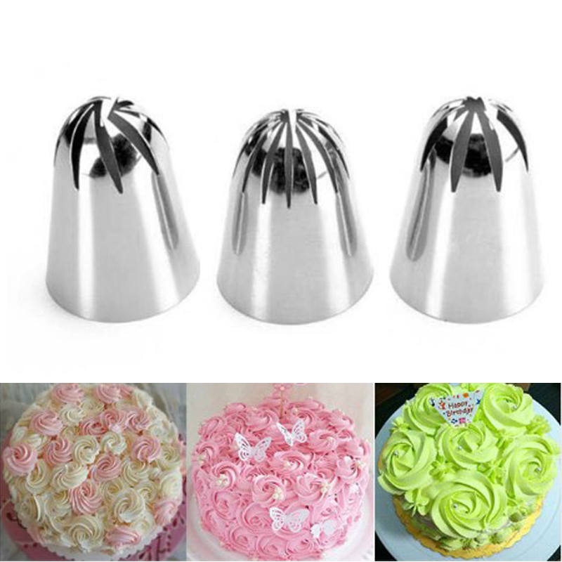 4YANG 3PCS Large Cream Nozzle Pastry Stainless Steel Icing Piping Tips Set Cakes Decorating Baking tools Dessert Decorators