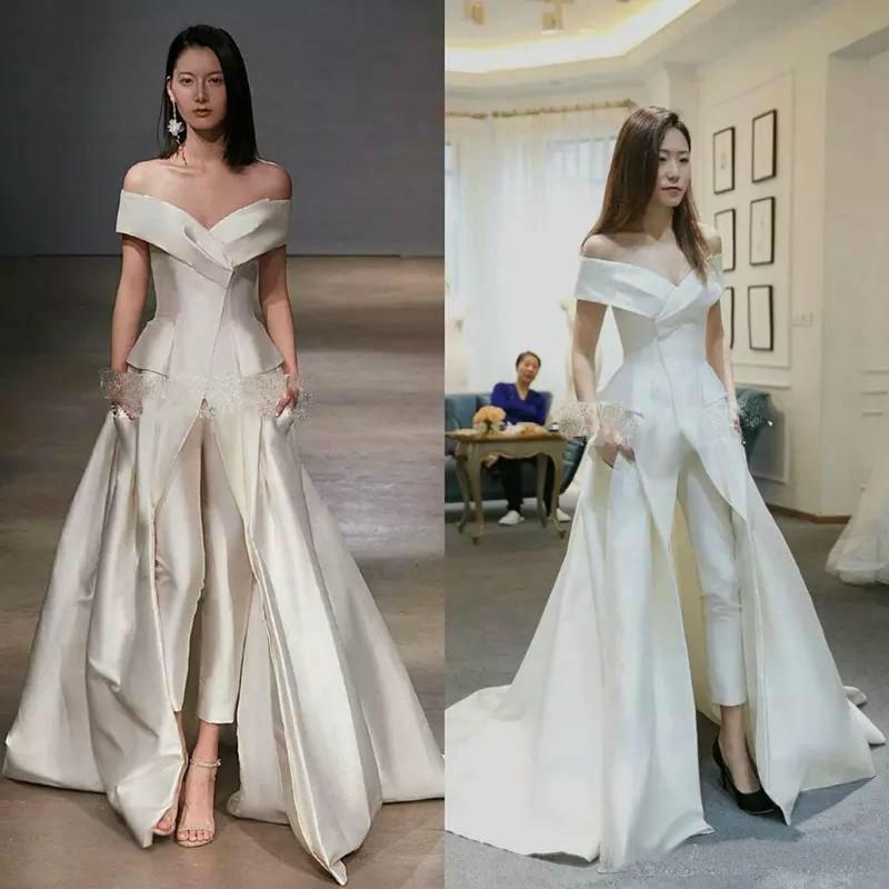 Us 154 65 9 Off Elegant Off The Shoulder Wedding Dress Women Jumpsuits With Pockets Custom Made Satin Bridal Gowns Cheap Vestido De Novia In Wedding