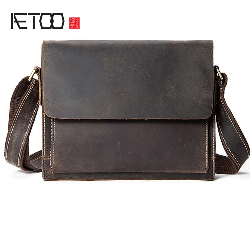 AETOO Cross-border leather men's bag retro leisure men's shoulder bag cross section first layer leather Messenger bag manufactur aetoo new first layer of leather men s shoulder bag leather male package cross section oblique cross bag japanese and korean ver