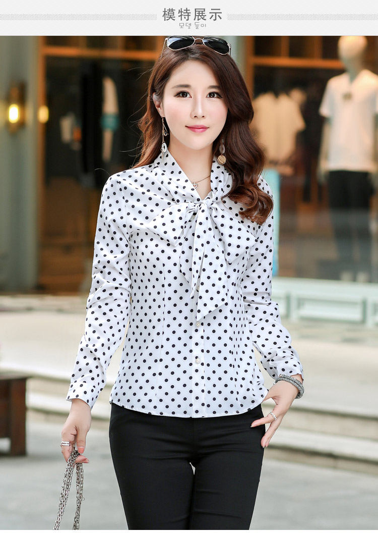c7323258114 2018 New Fashion Plus Size Blouses Elegant Bow Stripe Shirt Women Long  Sleeve