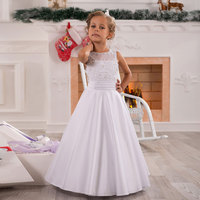 Stunning Elegant Lace Appliques Sleeveless A Line Floor Length Heirloom Satin Holy Communion Kids Tulle Pageant