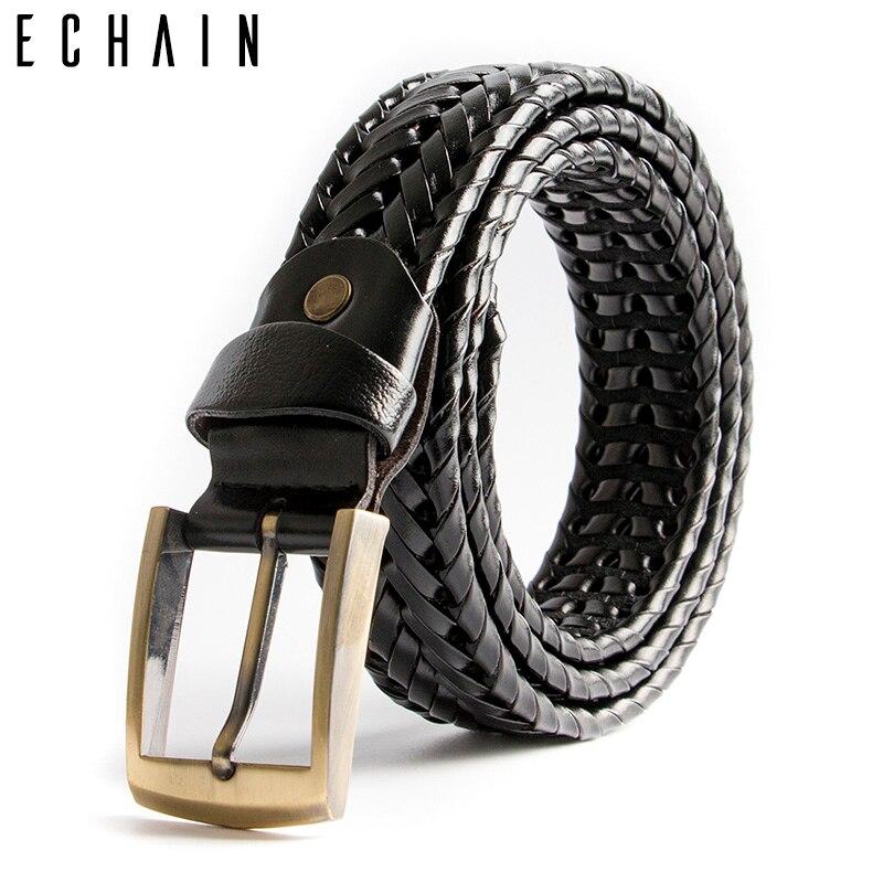ECHAIN Weaving Vintage Luxury Designer Belts Men High Quality Braided Genuine Real Leather Wedding Women Waist Strap for Jeans
