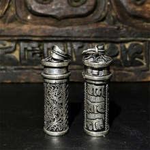 TGB053 тибетские серебряные мантры молитвенная коробка амулет подвески ОМ МАНИ PAD ME HUM Gau из Тибета