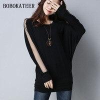 BOBOKATEER Long Sleeve T Shirt Women T Shirt Batwing Tops Black Gray Tshirt Women Tee Shirt