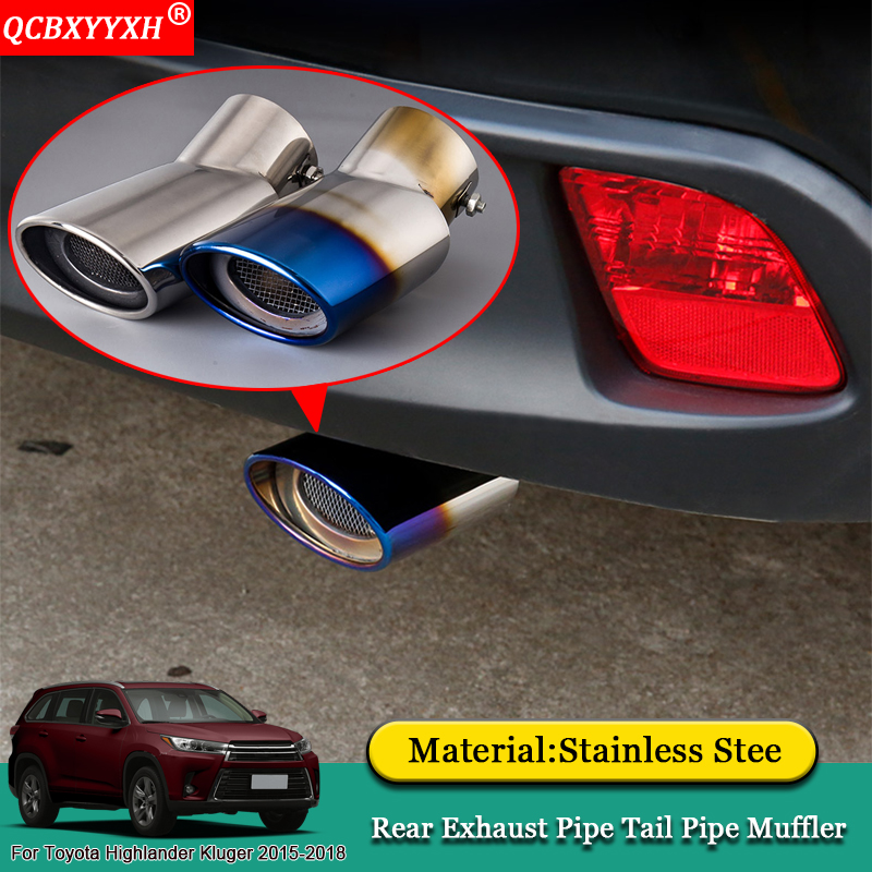 QCBXYYXH Car Styling Exhaust Muffler Tip Pipe Trim Modified Auto Rear Tail Throat Liner For Toyota Highlander Kluger 2015-2018