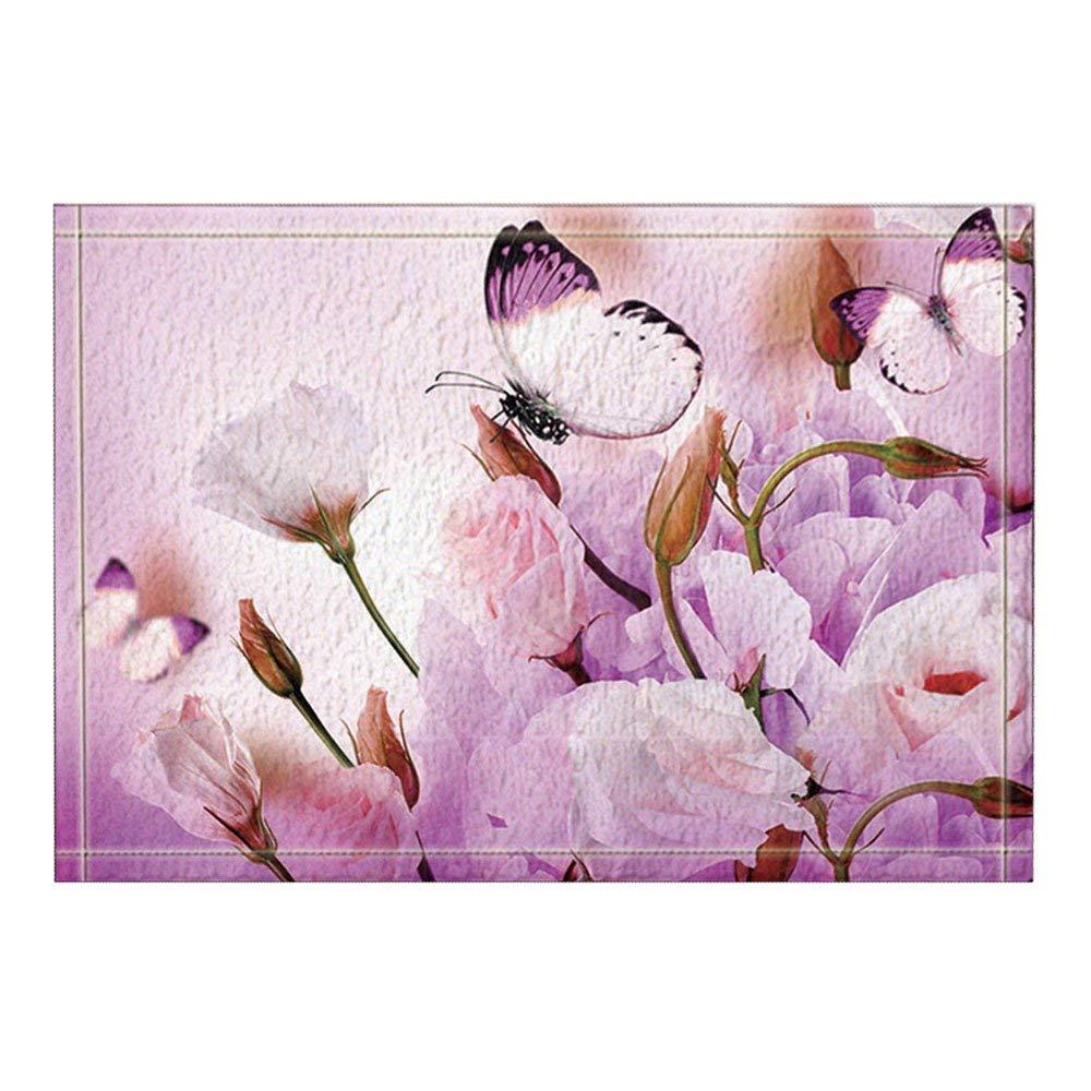 TOADDMOS Beautiful Butterfly Sparkling Design 4-Piece Car Carpet Floor Mats Set Purple All Season Non-Slip Rubber Backing Floor Mat for Women Ladies Gift