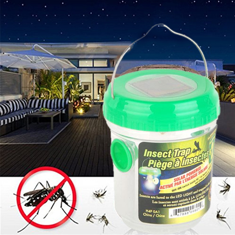Electric Mosquito 2V 40mA UV LED Solar Insect Trap Lamp Light Green Protector Repellent  For Outdoor Garden Living Room Home