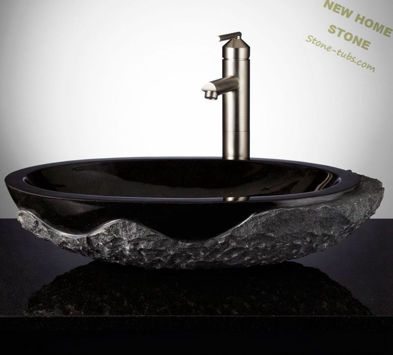 Marble Bathroom Sink Countertop: Black Granite Sinks Rough Outside And Polished Inside Oval
