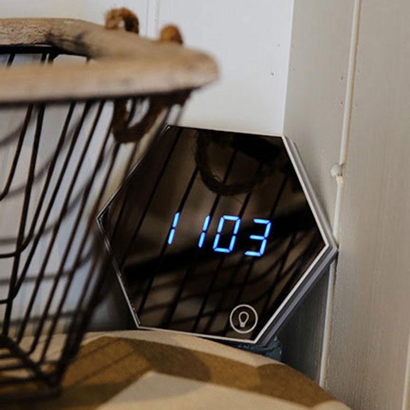 Multifunctional Night Light Stepless Dimming Time Temperature Display Makeup Mirror QJS Shop