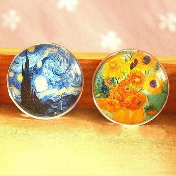 Promotion 4PCS 2 Packs Glass Ball Refrigerator Magnet Van Gogh Famous Starry Night Sunflower