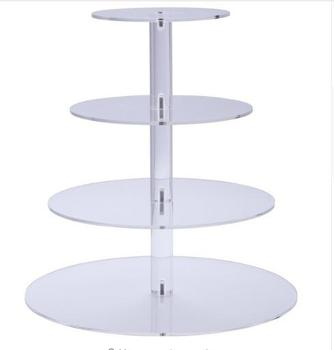 Premium 4 Four Tier Crystal Clear Acrylic Round Wedding Cake Stand Cupcake Tree Cupcakes Dessert Tower Cupcake Stand for Party