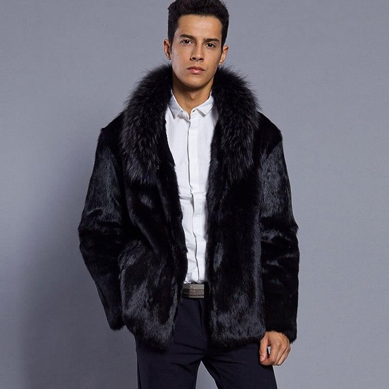 Meilleure vente! Hommes 2018 nouveau hiver noir mode long manteau en fausse fourrure renard fourrure col rabattu complet fourrure manteaux hommes veste de fourrure