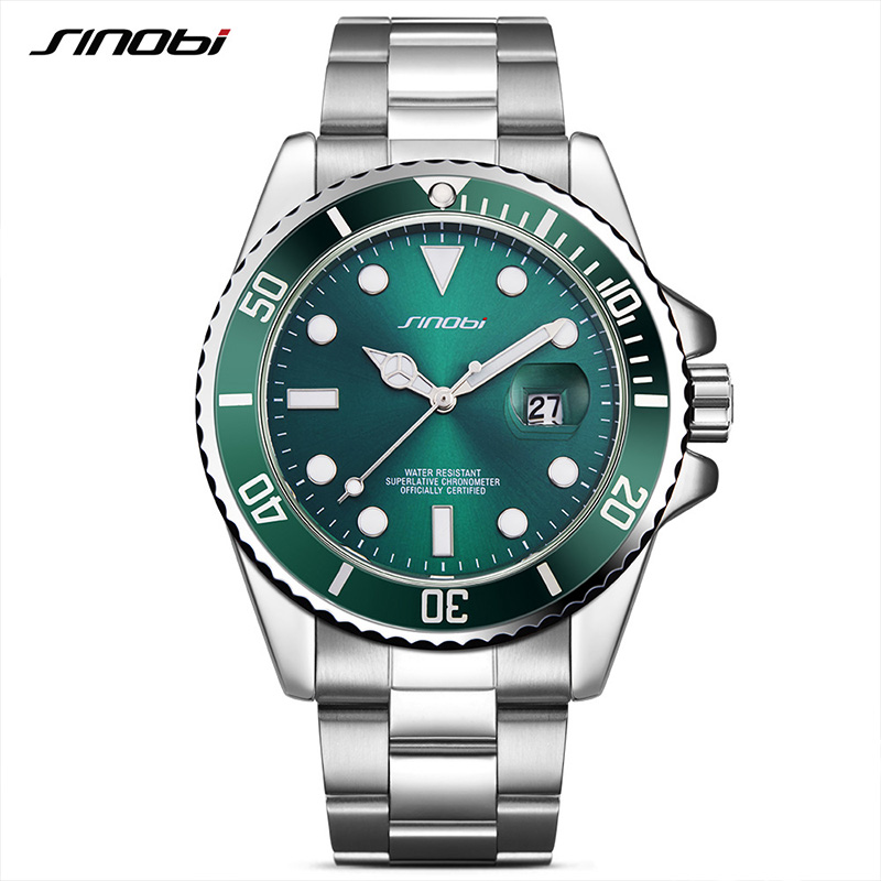 Mens Watches Top Brand Luxury SINOBI Stainless Steel Sport Quartz Watch Men Green Rotatable Bezel Waterproof Relogio Masculino pdo gold