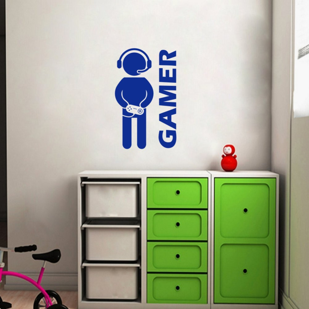 Gamer wall sticker video game art wallpaper vinyl wall decal for gamer wall sticker video game art wallpaper vinyl wall decal for boys room play room decoration in wall stickers from home garden on aliexpress amipublicfo Choice Image