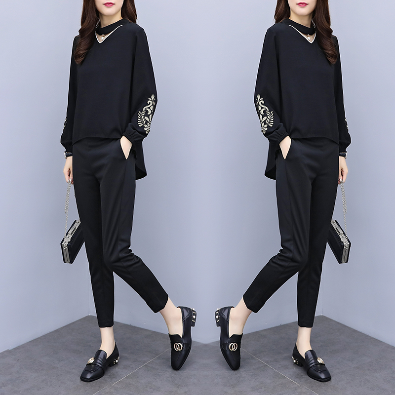 Spring Summer Two Piece Sets Women Plus Size Black Red Embroidery Long Sleeve Tops And Pants Suits Office Elegant Korean Sets 30