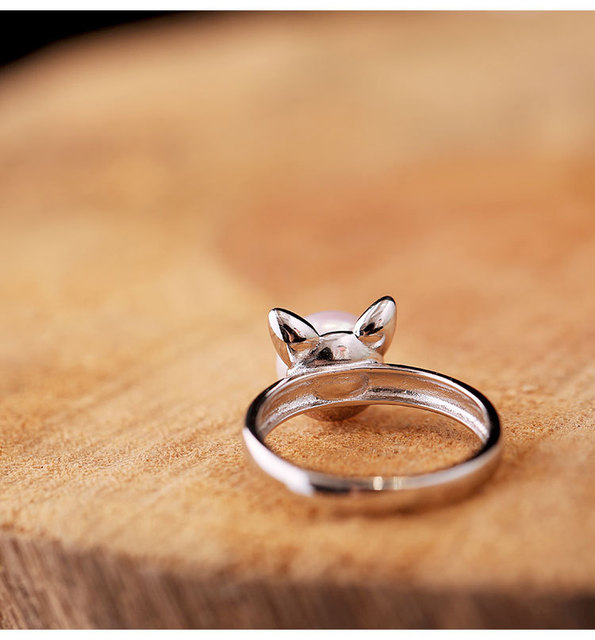 925 Sterling Silver Cute Cat Pearl Open Ring