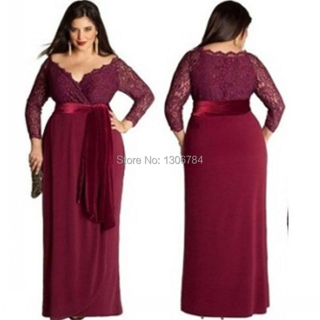 0e038f6ee70c Plus Size Burgundy Evening Dresses Sexy Deep V Neck Long Sleeve Lace Sash  Zipper Back Prom Party Gowns For Fat Women Vestidos
