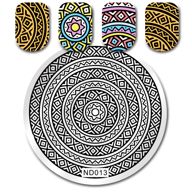Nicole Diary Circles Plaid Stamping Template Round Nail Art Stamp Iamge Plate Nd 013