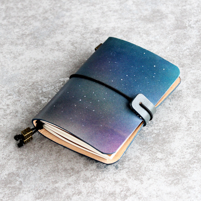 K&KBOOK Starry Sky Genuine Leather Cover Journal Traveler Notebook With Inner Paper Vintage Handmade Cute Travel Note Book simline vintage handmade genuine leather cowhide cover a6 loose leaf traveler s notebook diary passport holder cover wallet men