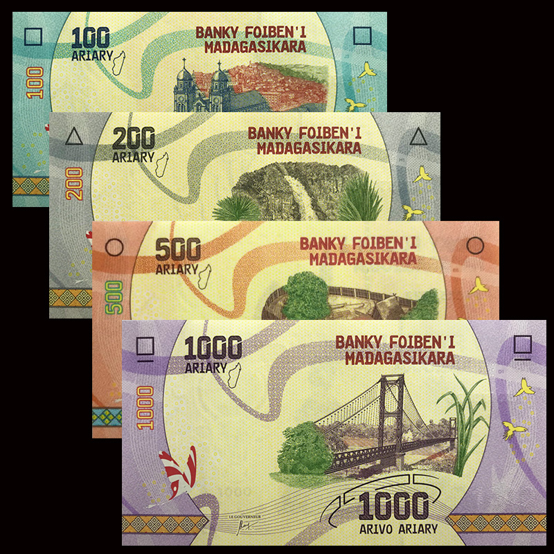 Madagascar Set 4 PCS, 100 200 500 1000 Ariary, 2017, UNC, Africa, NEW Collectibles, Gift Genuine, Original Real,Banknotes