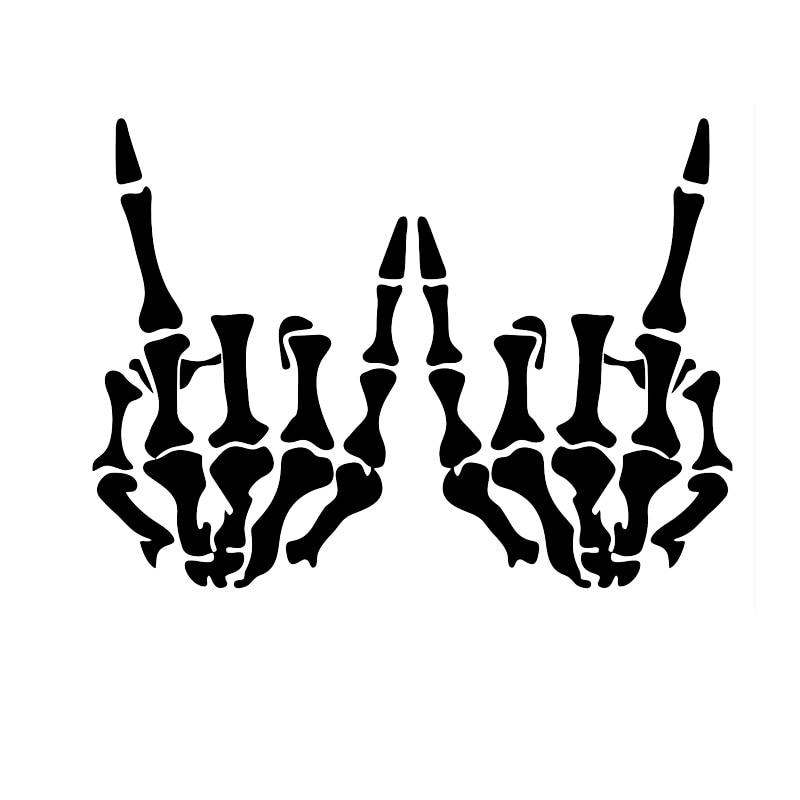 17.5 CENTIMETRI * 12.9 CENTIMETRI mano di Scheletro Rock & Roll Skull Finestra Del Vinile Nero/Silver Car Sticker Accessori Esterni per Toyota Camry rav4