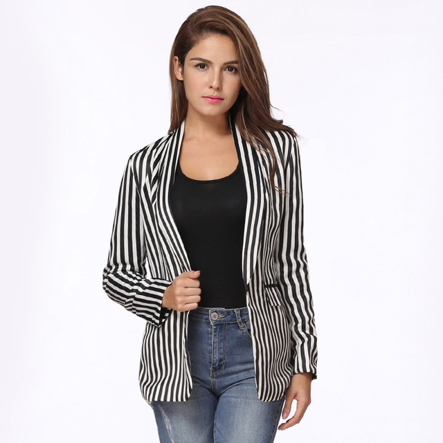 b885336e031c6 Autumn Women Basic Coat Contrast Stripes Pockets Long Sleeve Blazer Mujer  Elegant Outwear Jacket Black White Ladies Work Wear