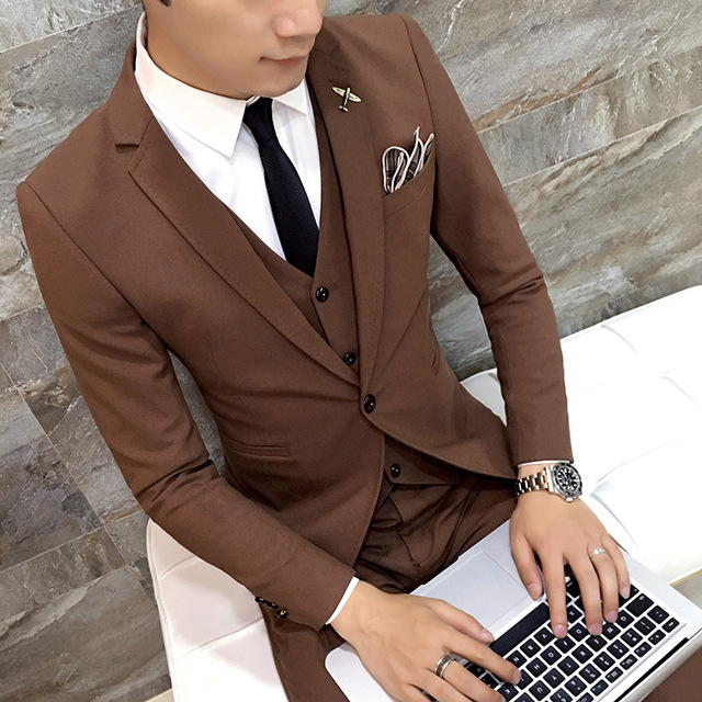 2017 Latest Coat Pant Design Brown Men Suit Groom Wedding Suits Slim Fit 3 Piece Style Tuxedo Custom Prom Blazer Terno Masculino