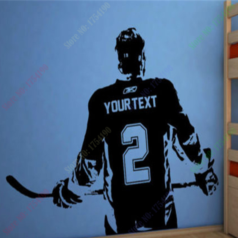Hockey player wall art decal sticker choose name number for Personalized home decor