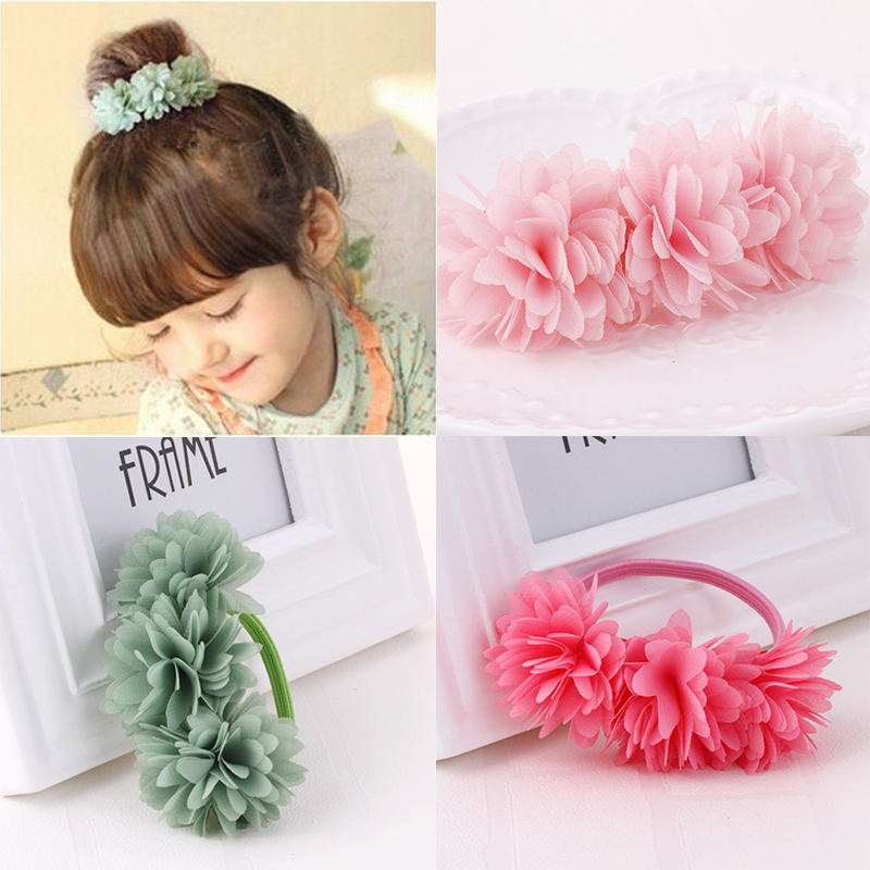 2Pcs/lot Chiffon Flowers Children Girls elastic hair bands Hair Accessories Rubber Bands Barrettes Girl   Headwear   Bow hair clips