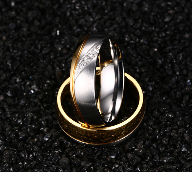 Wedding Ring Gold Plated Stainless Steel