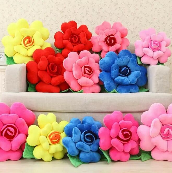 6 Colors 3D Rose Flower Plush Pillow Chair Seat Sofa Staffed Cushions Creative Birthday Gift 026