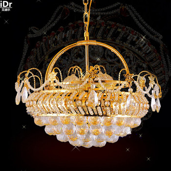 Geleneksel sarı kristal lamba restoran lamba avize lamba fabrika Çiçek Sepeti altın Avizeler Lmy-0187