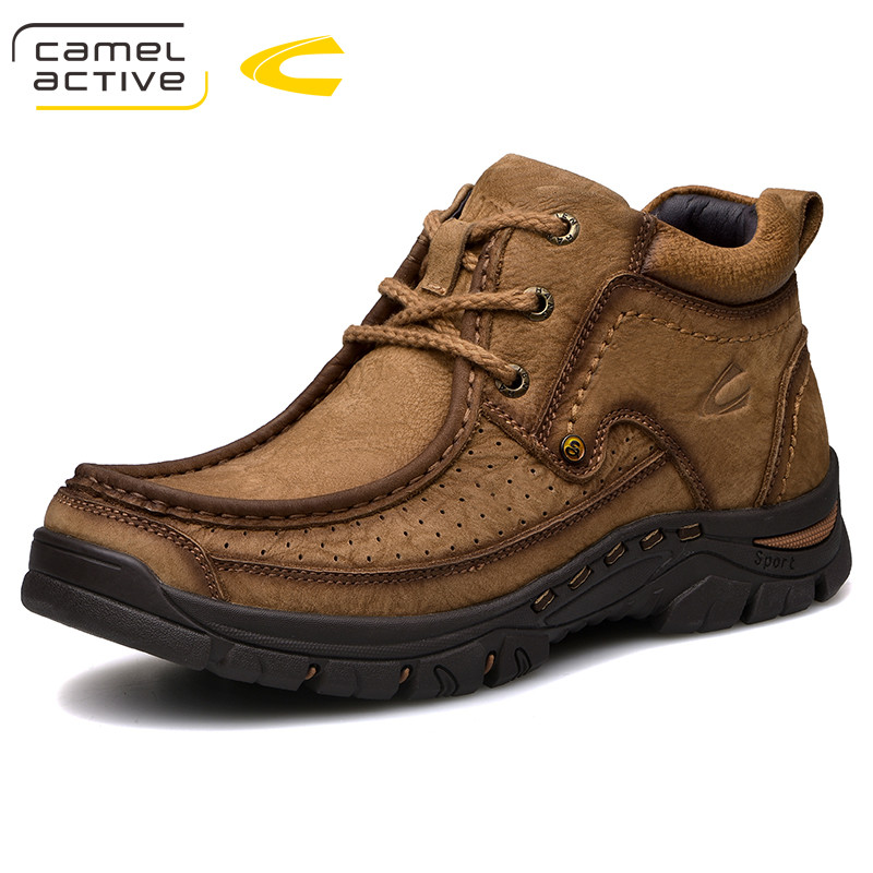 Camel Active New Winter Men Martin boots Genuine leather Motorcycle boots Luxury Vintage Male shoes Lace-Up Outdoor Ankle boots