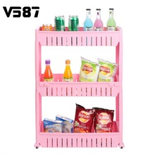 3 Tier Movable Kitchen Slide Out Trolley Spice Rack Detachable Rolling Plastic Organizer Shelf Home Bathroom Sundries Storage