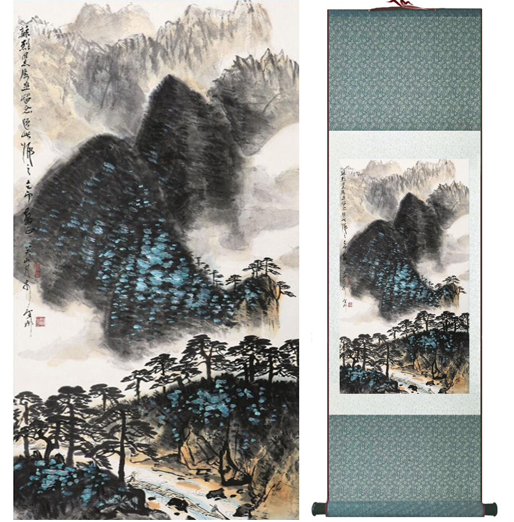 landscape painting Home Office Decoration Chinese scroll painting mountain and River paintingPrinted painting050501