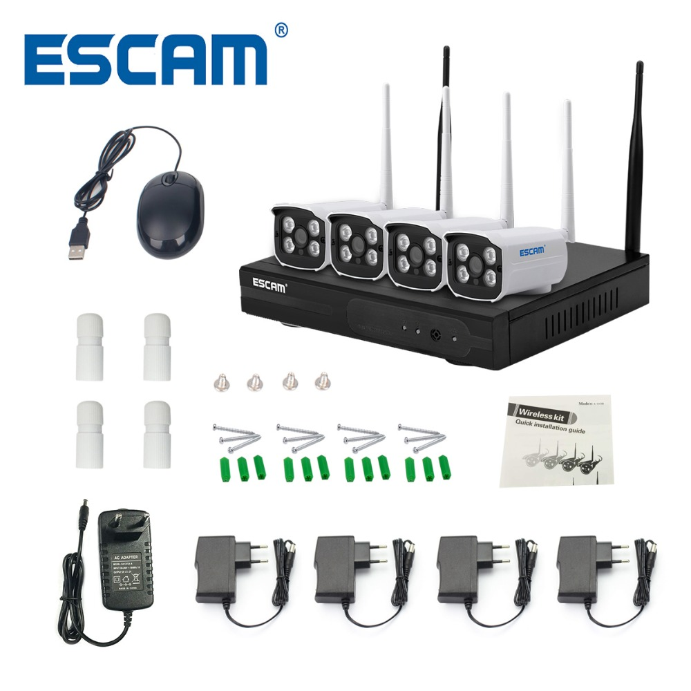 ESCAM WNK403 Plug and Play Wireless NVR Kit P2P 720 P HD Outdoor IR Night Vision Security Ip WIFI CCTV sistema