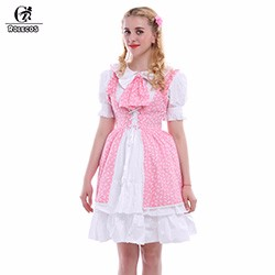 Rolecos-Women-Cute-O-Neck-Dress-Pink-White-High-Waist-dress-Summer-Lolita-Dress-GC127A