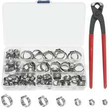 Single Ear Stepless Hose Clamps 90PCS 5.8-21mm 304 Stainless Steel Cinch Clamp Rings Crimper Tool Kit wi