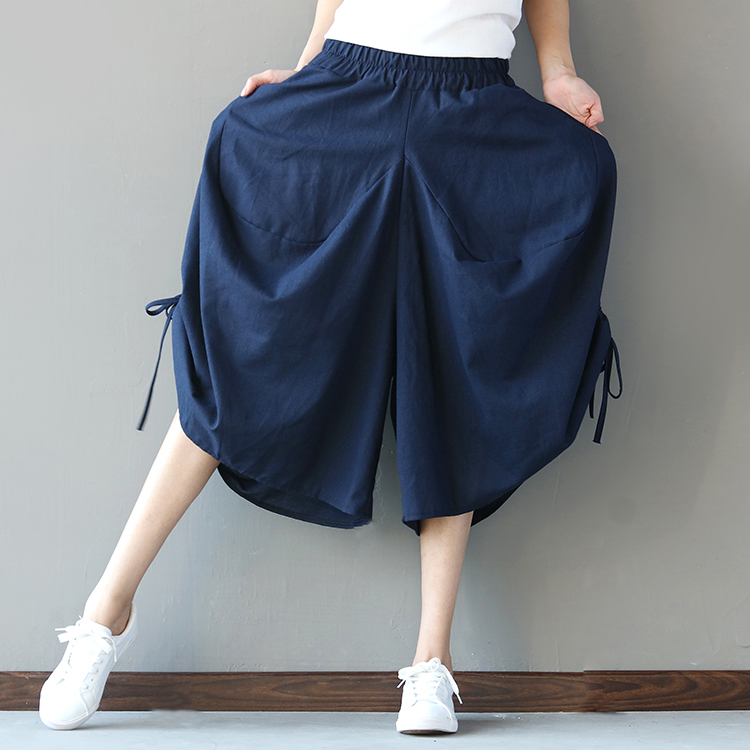 2018 summer new women   wide     leg     pants   cotton and linen solid loose vintage folk style plus size trousers